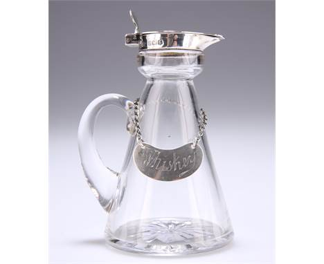 A GEORGE V SILVER-MOUNTED GLASS WHISKY NOGGIN, by Asprey & Co Ltd, Birmingham 1917, tapering cylindrical form w