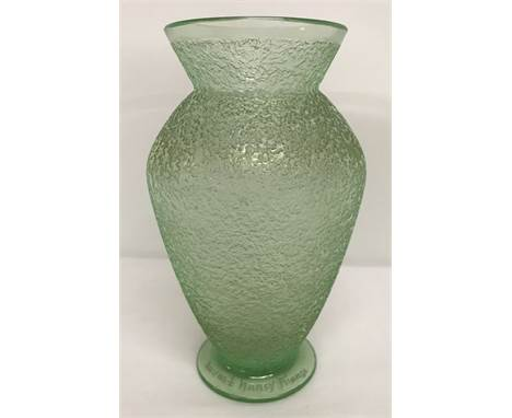 """A Daum Nancy Art Deco frosted design pale green glass vase.  Etched signature to base of vase """"Daum Nancy France"""".  Approx. 1"""