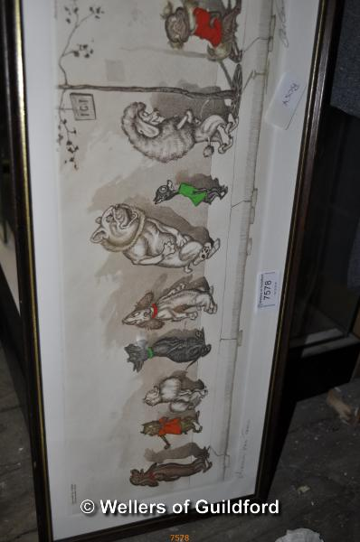 Lot 7578 - Boris O'Klein, comical French dog print, 'Chacun son tour', signed in pencil, 15 x 44cm.