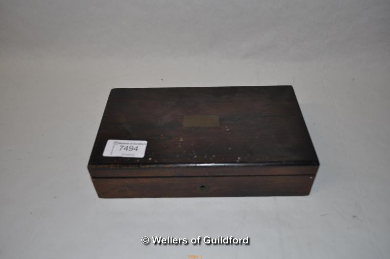 Lot 7494 - A Victorian rosewood drawing box with brass lozenge, fitted top drawer containing drawing
