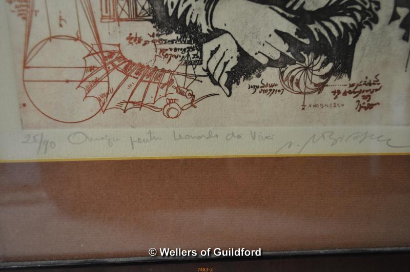 Lot 7390 - After Nicolae Nobilescu, Da Vinci illustration, limited edition print 25/90, signed in pencil.