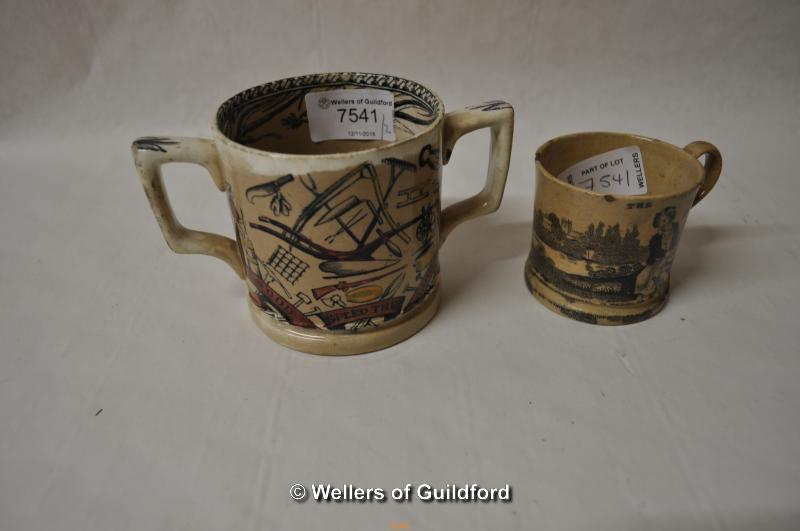 Lot 7418 - A Victorian twin handle mug 'God Speed the Plough', 8cm; a Victorian child's cup 'The broken jug'.