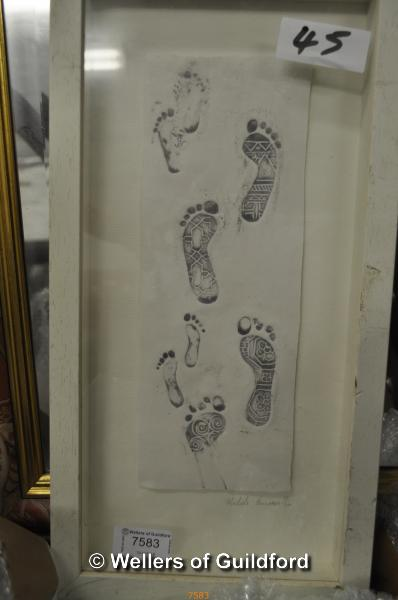 Lot 7583 - Michele Hannan, porcelain plaque 'Footprints', limited edition of 300, signed, framed and glazed,