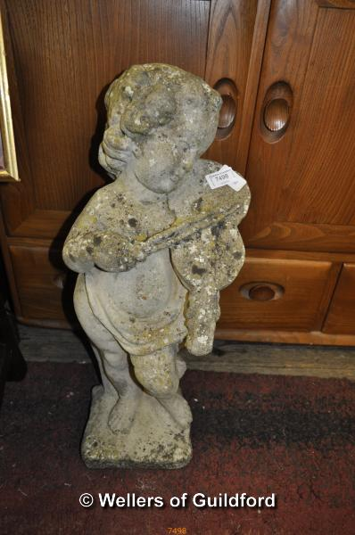 Lot 7498 - A concrete garden statue of a boy playing the violin, 60cm.
