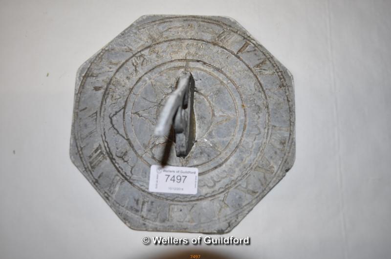 Lot 7497 - A lead sundial, 19cm diameter.