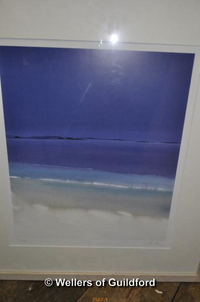 Lot 7587 - Four prints by Cornish artists, signed indistinctly; two abstract paintings (6)