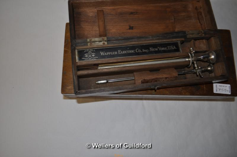 Lot 7534 - Loewenstein-Optik box of instruments; Wappler Electric Co.Inc.New York box of instruments.