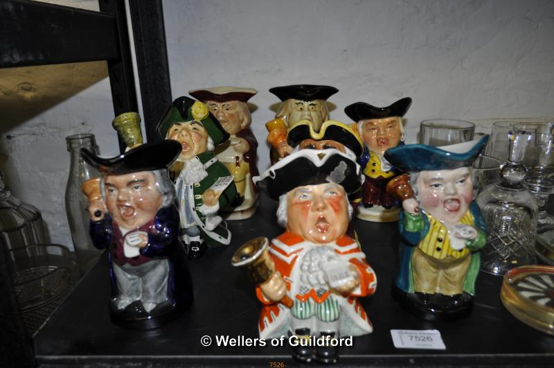 Lot 7526 - Town crier character jugs, makers include Tony Wood, Roy Kirkman and Staffordshire Fine Ceramics (