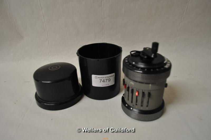 Lot 7406 - Curta Type II calculator by Contina Ltd Mauren, serial number 548110, with original cylindrical