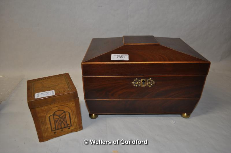 Lot 7651 - *Mahogany writing box and vintage wooden toy