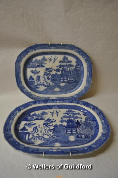 Lot 7403 - A near pair of blue and white meat plates.