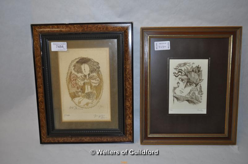 Lot 7391 - Two small decorative portrait prints, 12 x 9.5 and 16 x 11cm, limited edition prints.