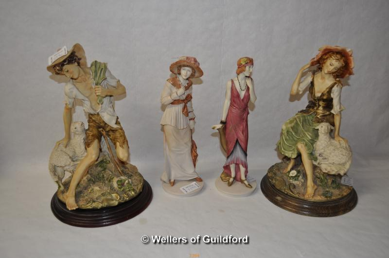 Lot 7394 - Two Royal Doulton figures in the Classique series, Stephanie and Vanessa; a pair of Capo di Monte
