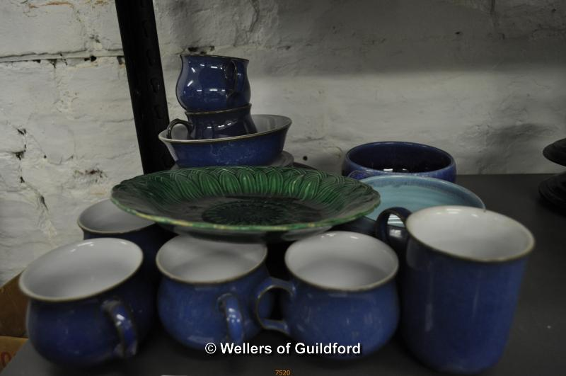 Lot 7520 - Green glaze sunflower plate and a small quantity of blue Denby wares.