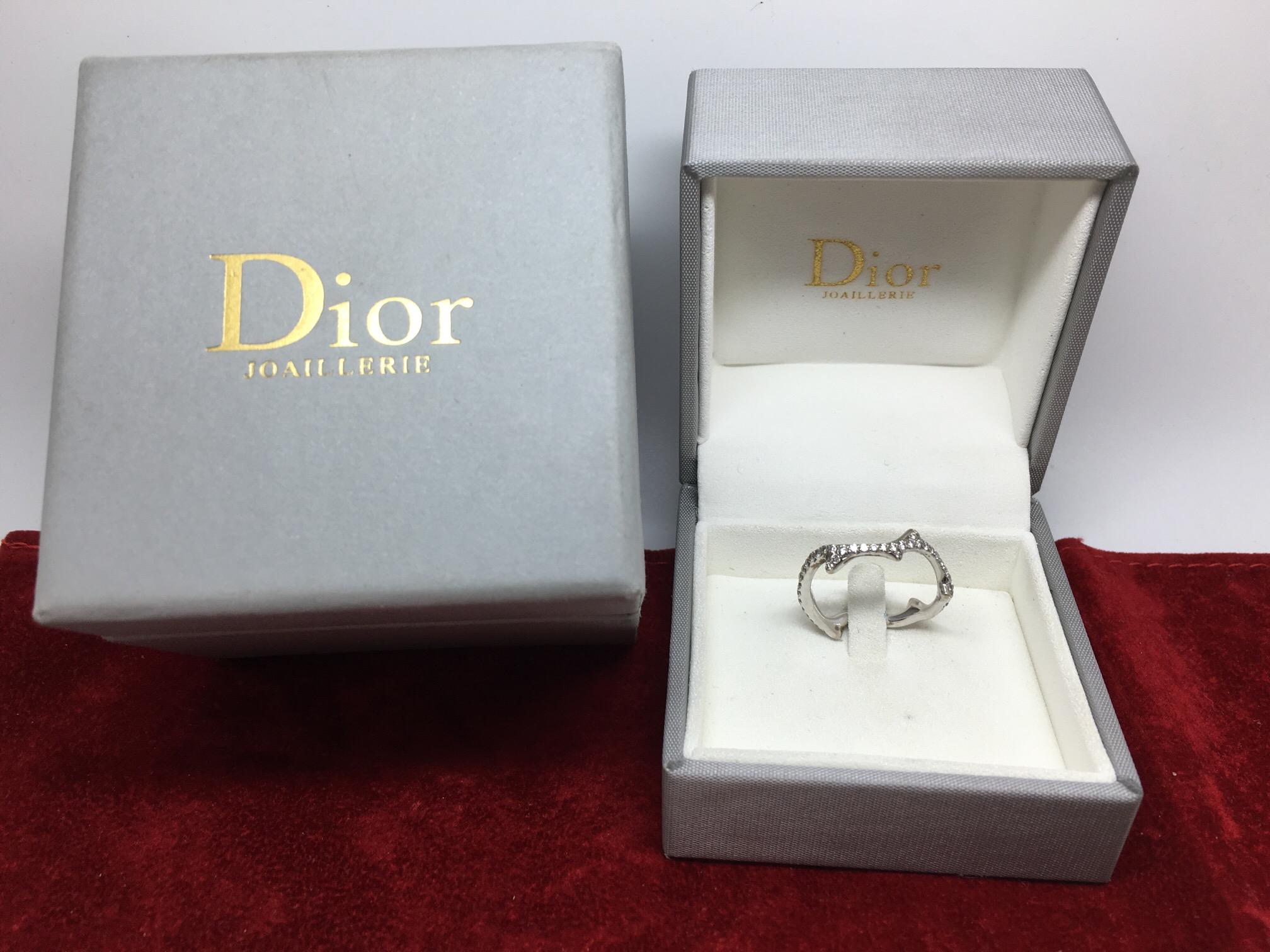AMAZING DIOR 18ct WHITE GOLD DIAMOND RING 058ct BOIS DE