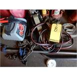 LOT MISC. AUTOMOTIVE ITEMS TO INCLUDE - JUMPER CABLES, BATTERY CHARGER, JUMP BOX, FUEL CANS