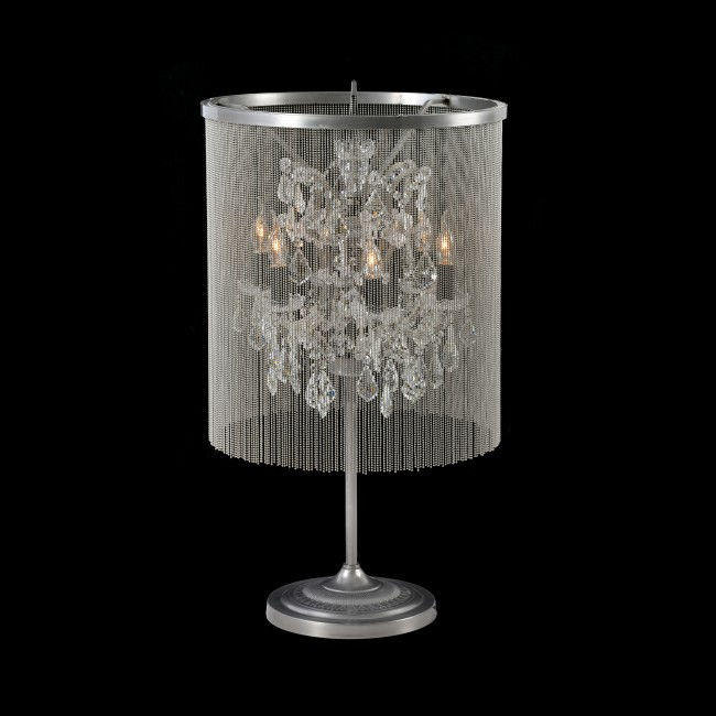 Chainmail Crystal Table Lamp Grey Uk, Chandelier Table Lamps Uk