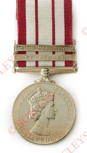 """Lot 585 - Naval General Service Medal Two Clasps """"Near East"""" & """"B.M. Clearance Mediterranean"""" An extremely"""