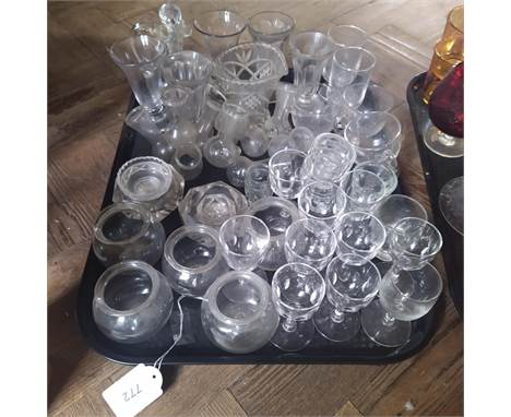 Mixed mainly Victorian glassware including four leech pots and various bud vases