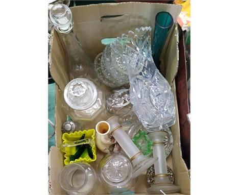 Mixed glassware including a vase, candlesticks, decanter, lidded jar etc
