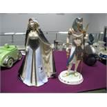 Royal Worcester Figurine 'Lady of Sherwood', no. 110/7500 and a Wedgwood figurine 'Tutankhamun'. (