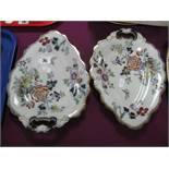 An Ashworth Ironstone Tureen, Cover and Stand, in the Imari palette; two heart shaped bon bon