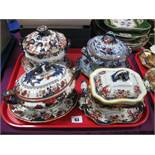 Four Late XIX/Early XX Century Tureens, Covers and Stands, various patterns:- One Tray