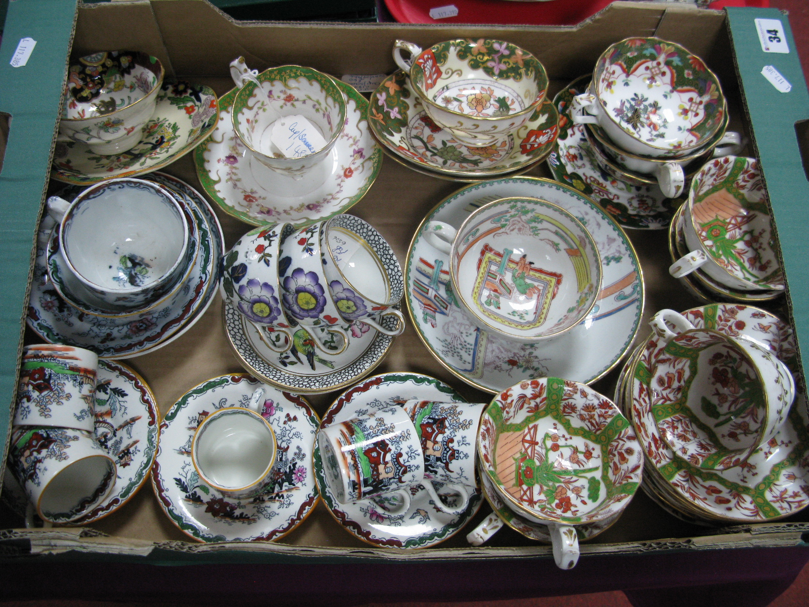 Lot 34 - A Collection of Late XIX to Early XX Century Mason's Cups and Saucers, various patterns.