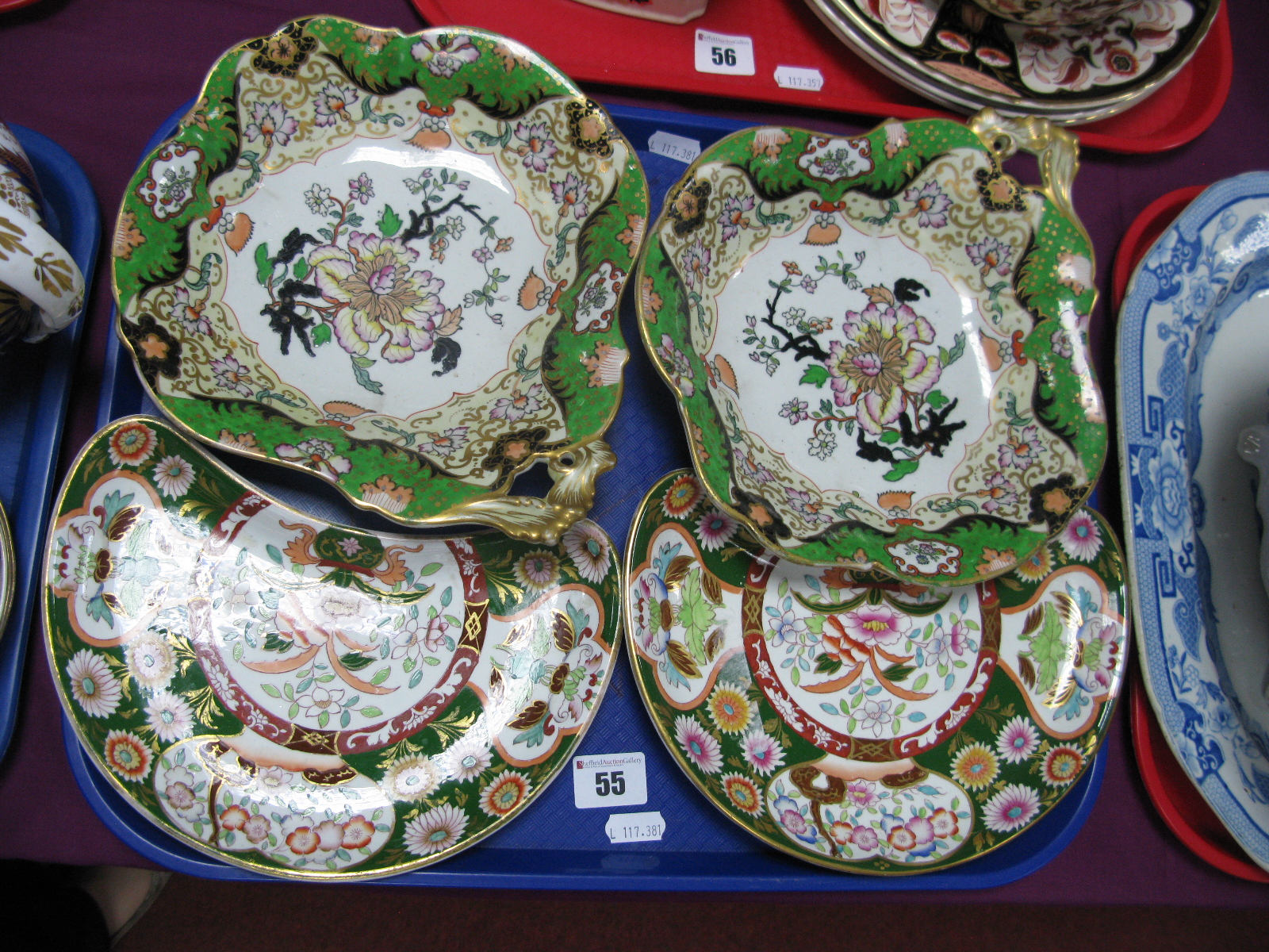 A Pair of Mason's Ironstone Bon Bon Dishes, with gilt leaf scroll handles and two similar salad