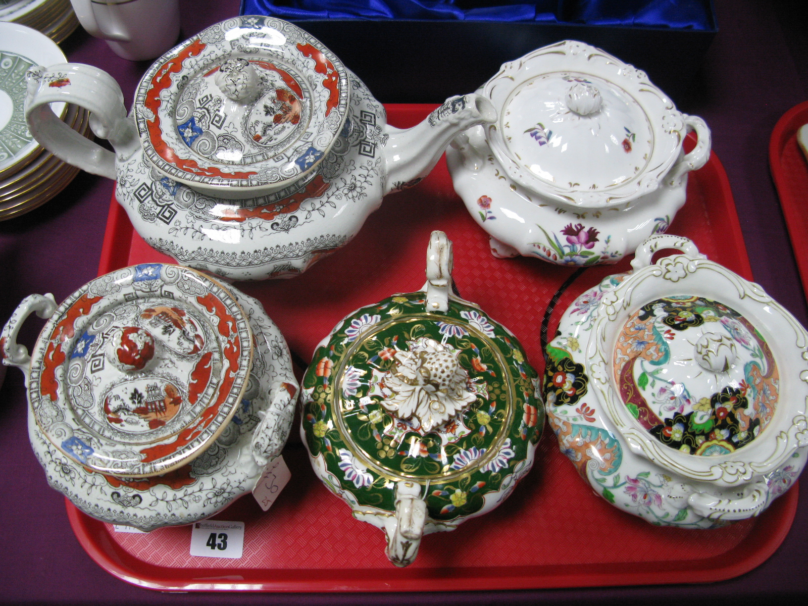 Lot 43 - A XIX Century Ironstone Teapot and Sucrier, decorated with Chinoiserie landscapes; three other