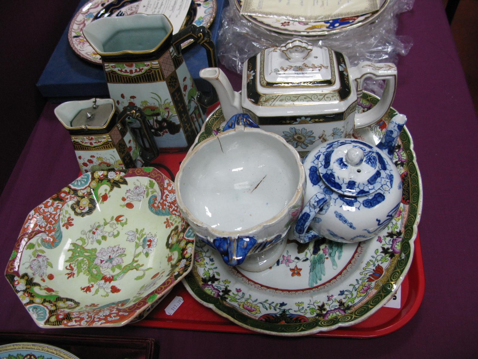 Mason's Octagonal Comport, teapots, rectangular dish, etc:- One Tray