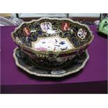 A Mid XX Century Mason's Bowl, decorated with gilt scrollwork on a deep blue ground inset with