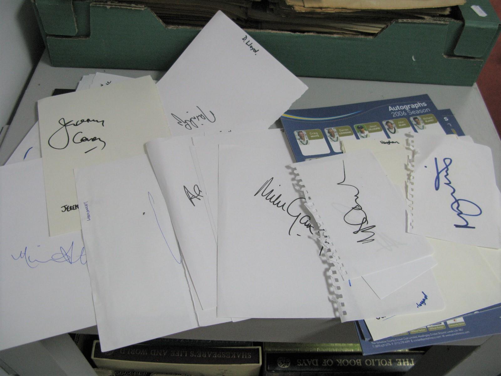 Autographs - All unverified, Botham Willis, Engineer, Atherton, Benaud, Holding, C.Lloyd, Akram,
