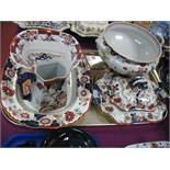 A Collection of Early XX Century Mason's Ironstone China including meat plate, flared bowl, tureen
