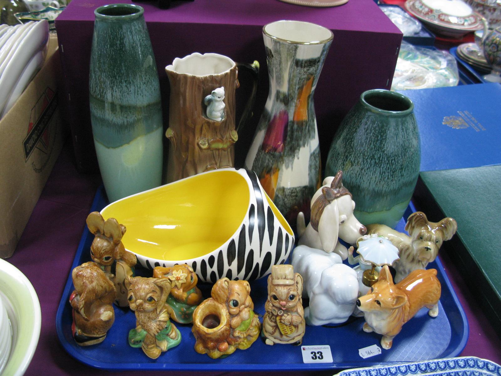 Scheurich, Amano and other German Vases, Hornsea fauna jug, Beswick zebra posy, Sylvac, Pendelfin,