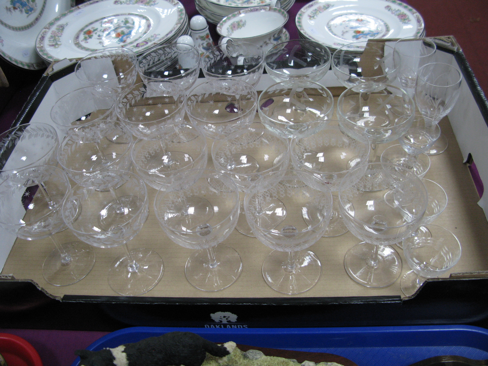 Ten Early XX Century Etched Champagne Glasses, (matched), a further set of six, ten other drinking