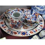 An Ashworth Ironstone Imari Meat Plate, with well; a similar sauce tureen, cover and stand and a