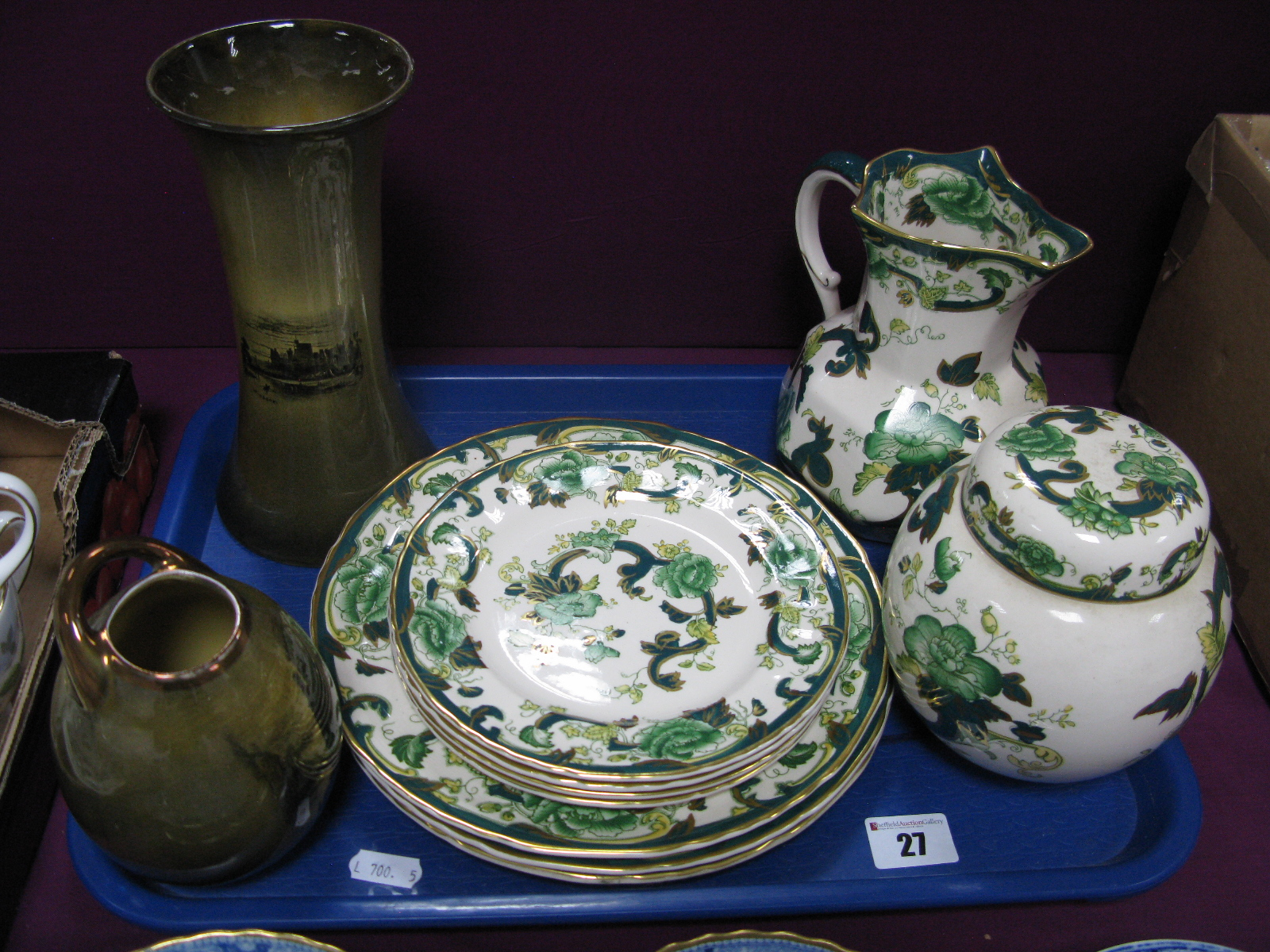 Masons 'Chartreuse' Ginger Jar, octagonal jug and seven plates, Royal Vistas vases:- One Tray