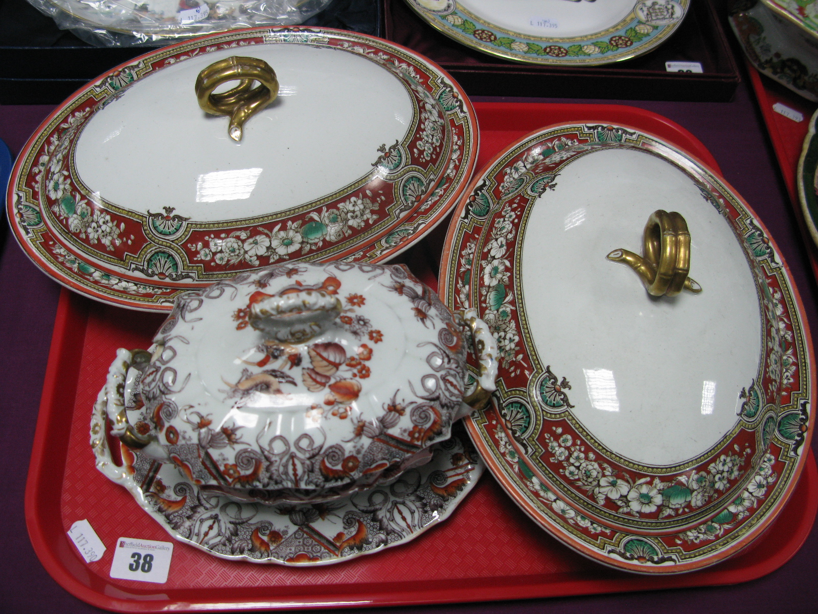 A Pair of XIX Century Ashworth Ironstone Oval Tureens and Covers; a Mason's sauce tureen, cover