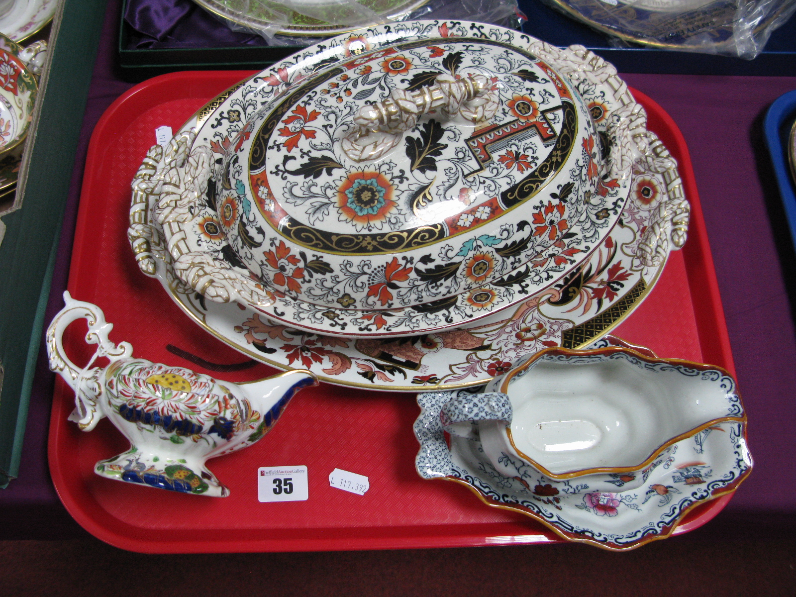 An Ashworth Ironstone Tureen and Cover, similar stand, sauce boat and cream jug:- One Tray