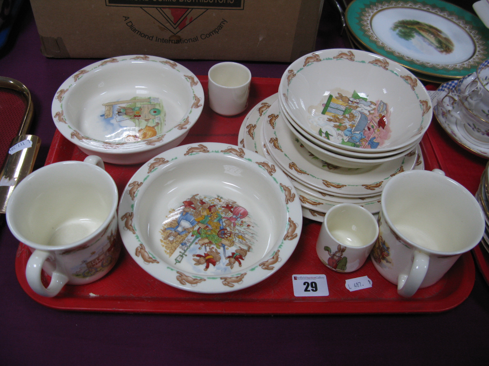 Lot 29 - Royal Doulton 'Bunnykins' Children's Pottery Table Ware, of fourteen pieces:- One Tray