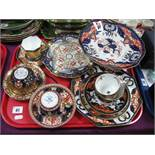 A XIX Century Ashworth Imari Cups and Saucers, Mason's trio and comport, etc:- One Tray