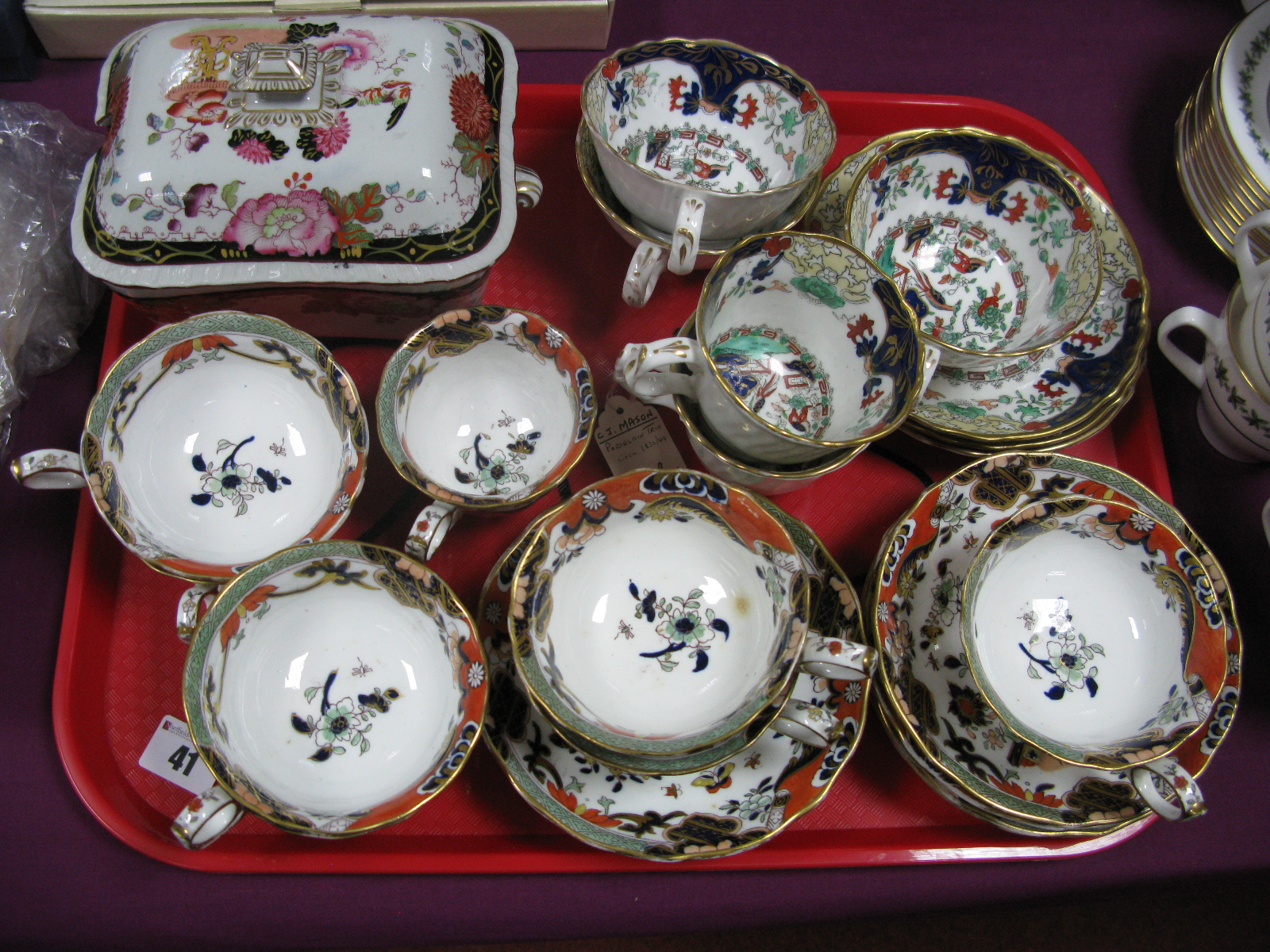 Lot 41 - Mason's Teaware, sauce tureen, etc:- One Tray