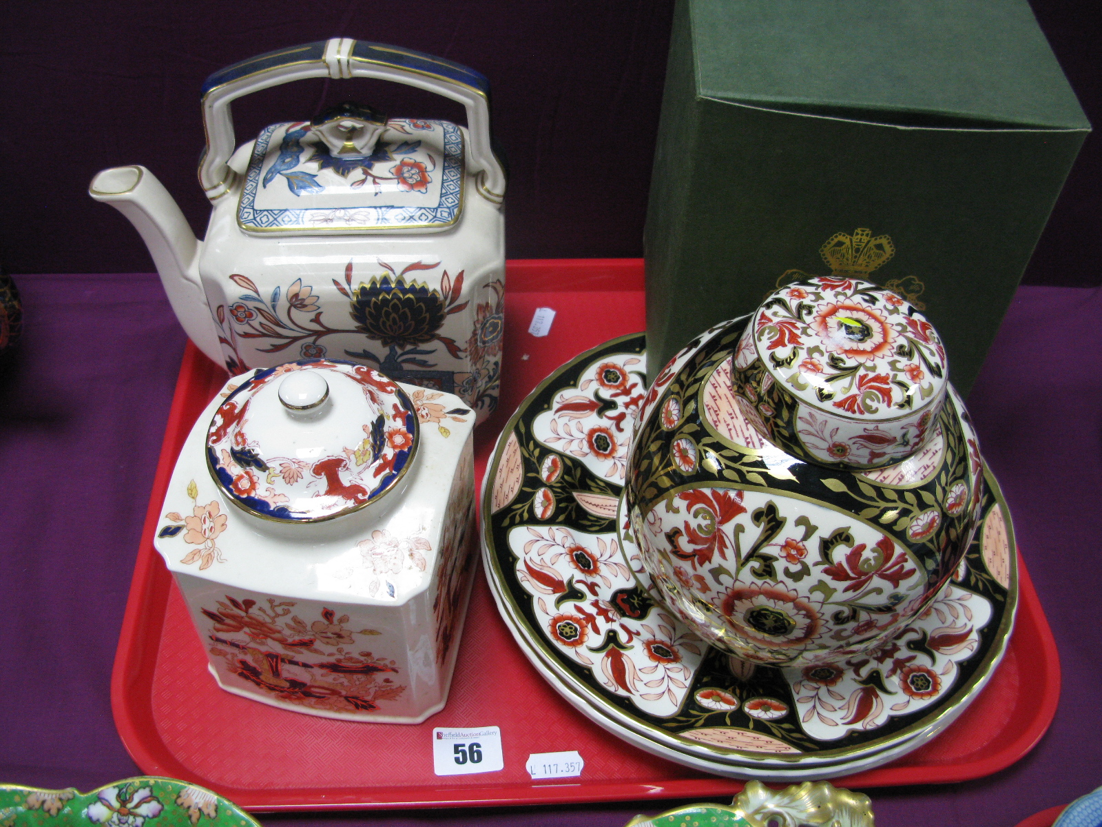 A Mason's 'Prince of Wales' Pattern Ginger Jar and Cover, (boxed), similar plates and an '