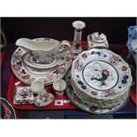 Mason's 'Brocade' Candlestick, plates, egg trinket; similar tea canister, dessert plates, etc:-