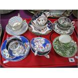 A Collection of XIX Century and Later Trios, cups and saucers, etc:- One Tray