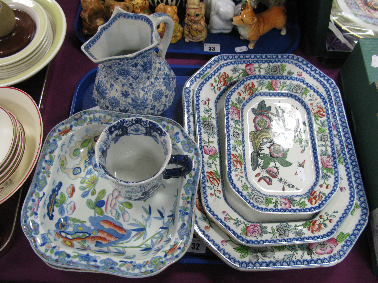 Three XIX Century Graduated Meat Plates, two square bowls and an Ashworth Hydra jug:- One Tray