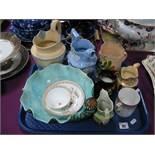 A Majolica Shell Dish, (cracked), Brameld Jasper jug, XIX Century cottage jug, other ceramics:-