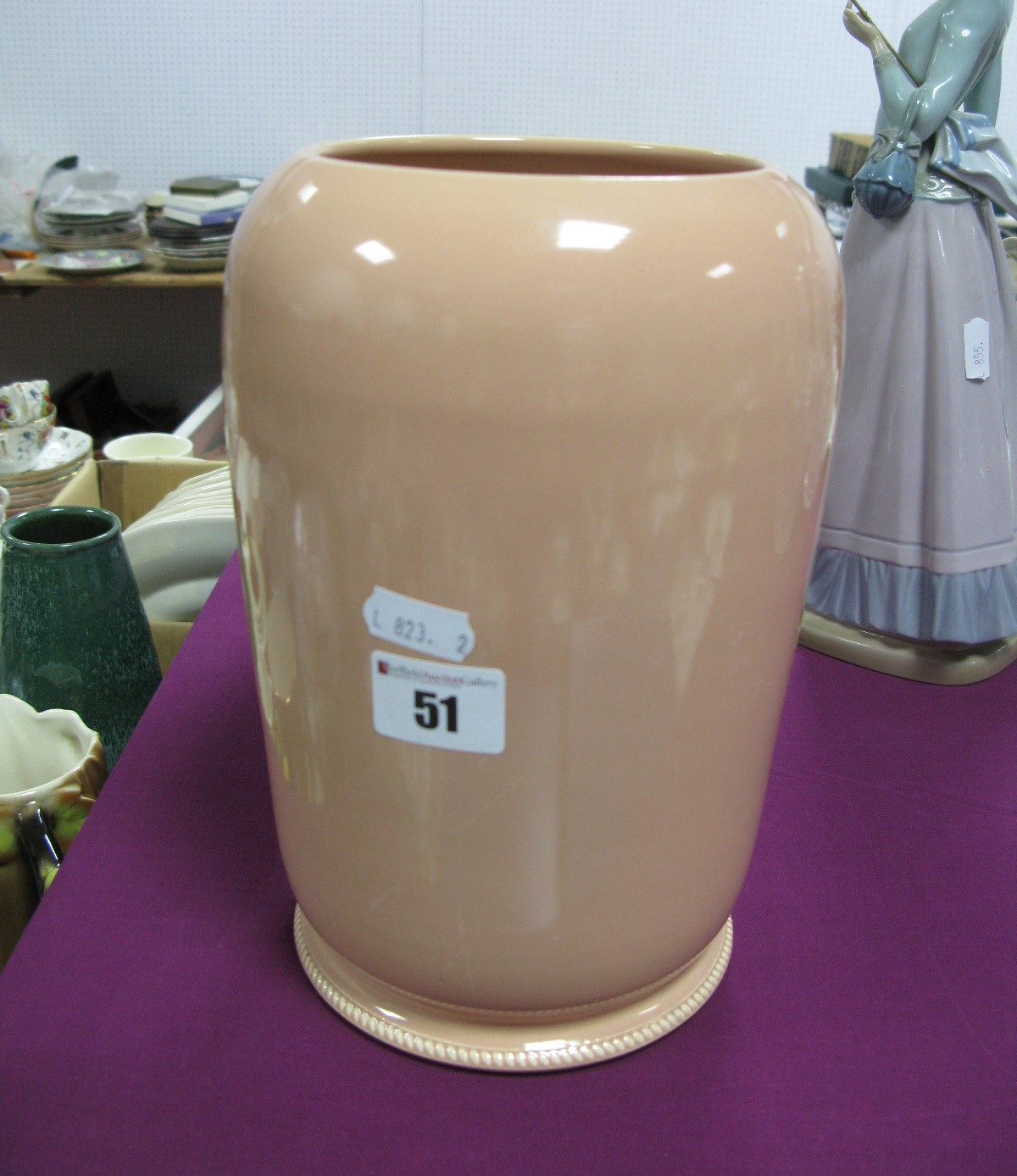 Susie Cooper Pottery Vase, in salmon pink, with ropetwist base, impressed Susie Cooper reference