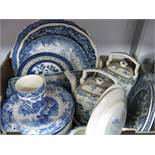 Two Early XX Century Mason's 'Vista' Chargers, a quantity of other blue and white pottery